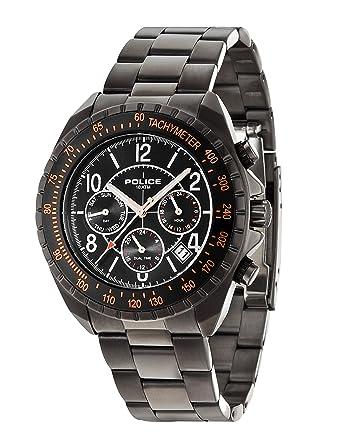 Police 14343JSUB/02M - Reloj de pulsera hombre, acero inoxidable chapado, color negro: Amazon.es: Relojes