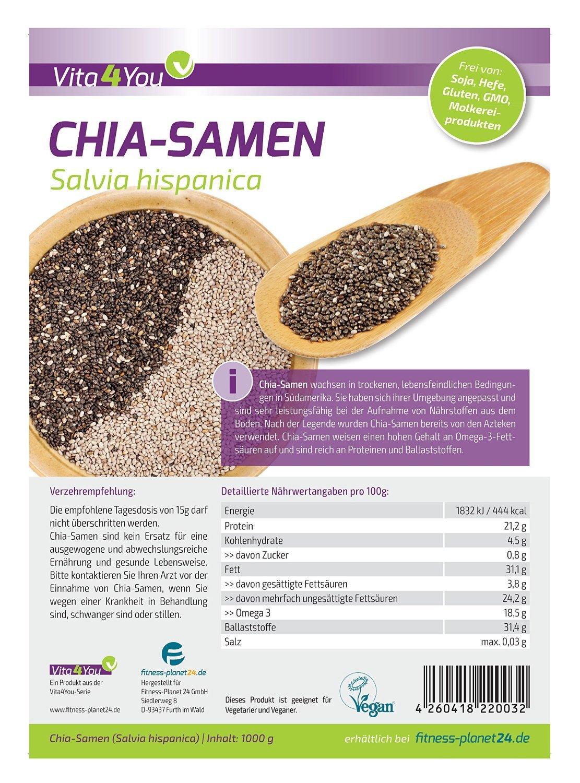 Vita2You Chia semilla - Salvia Hispanica - 1kg Zippbeutel - 1er Paquete (1000g): Amazon.es: Deportes y aire libre