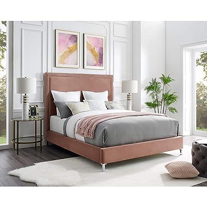 Charmant Image Unavailable. Image Not Available For. Color: Inspired Home Blush  Velvet Platform Bedframe ...