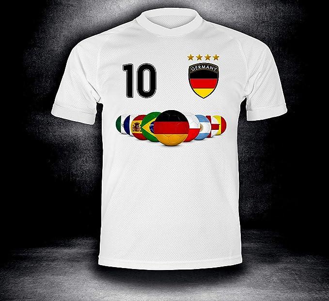 ElevenSports Deutschland Trikot 2018 mit GRATIS Wunschname + Nummer im EM WM Weiss Typ #DE7t - Geschenke für Kinder Erw. Jung