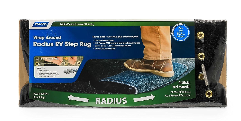 - Blue Camco 42948 RV Step Rug Premium Radius Wrap Around Step Rug, Turf Material 22 Wide