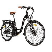 """Moma Bikes Vélo Electrique VAE De ville, E-28"""", Aluminium, SHIMANO 7V, Freins a Disque Bat. Ion Lithium 36V 16Ah"""