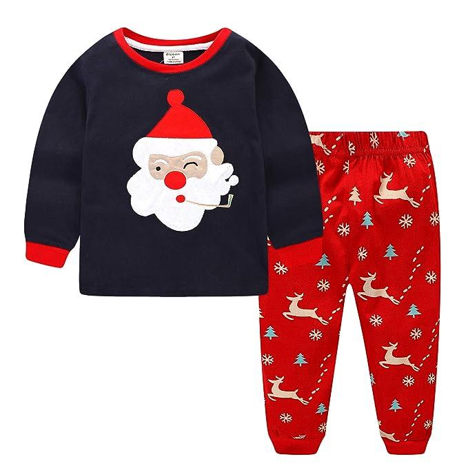 1f64b172e Navidad niños niñas Pijamas Set Santa Claus Sleepwear Manga Larga algodón  Ropa Traje Dos Piezas Conjunto