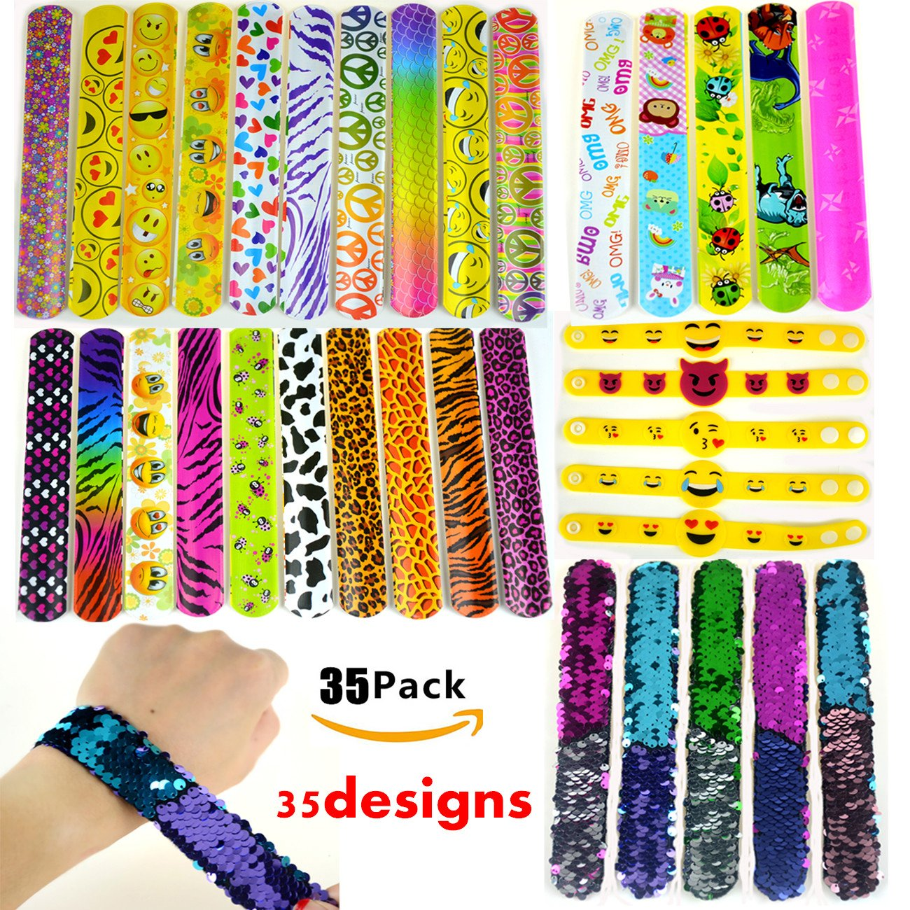 Slap Bracelets, 35 PCS Birthday Party Favors Gifts (25 Designs Slap Bracelets + 5 Reversible Sequin Mermaid Bracelets + 5 Silicone Emoji Bracelets), Charming Wristband for Kids and Adults. by JACHAM (Image #1)
