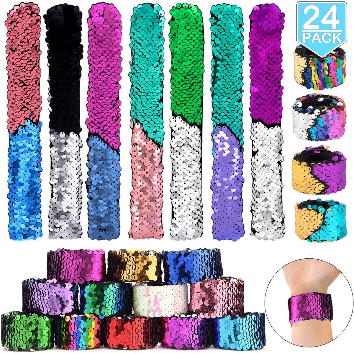 POKONBOY 24 Pack Mermaid Slap Bracelets Mermaid Party Favors, Two-Color Decorative Reversible Sequin Bracelets,Birthday Party Favors Supplies Gifts for Girls Kids, Pink Blue Purple by POKONBOY