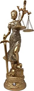 """Golden Lady Justice Statue Bronze Home & Office Use - Accented Base with 4 Crystals - 14"""" Greek Roman Goddess"""