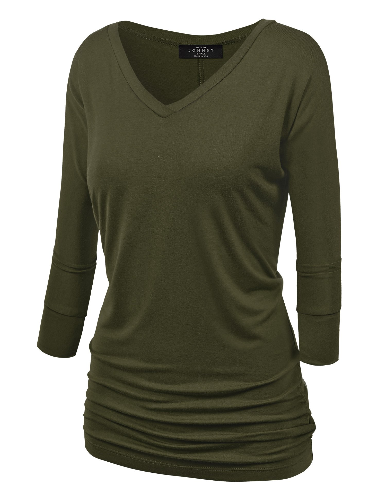 Made By Johnny WT1036 Womens V Neck 3/4 Sleeve Dolman Top with Side Shirring XXXXXL Olive