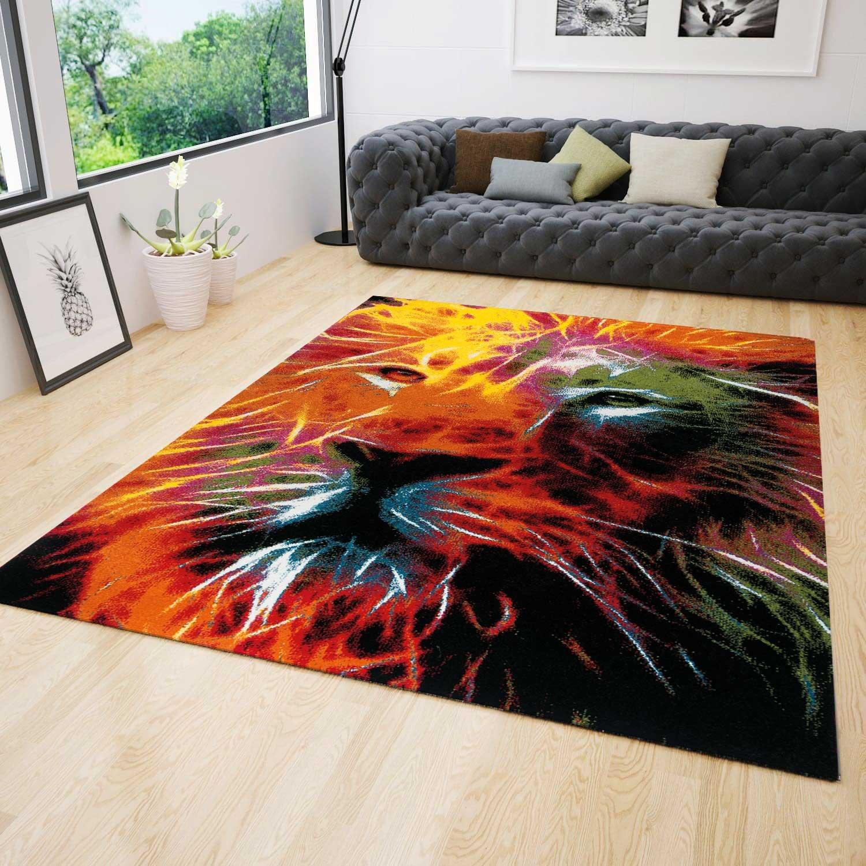 Jugendzimmer Teppich Modern mit Löwenkopf Muster Bunt Farbenfroh Kinderzimmer 120x170 cm