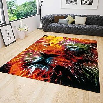 Jugendzimmer Teppich Modern Mit Lowenkopf Muster Bunt Farbenfroh