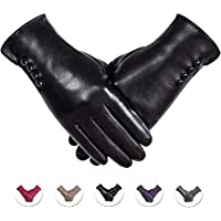 Winter PU Leather Gloves For Women, Warm Thermal Touchscreen Texting Typing Dress Driving Motorcycle Gloves With Wool…