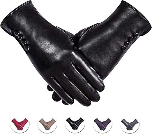 New Ladies Leather Gloves Winter Leather Gloves with lining Ladies Driving Glove