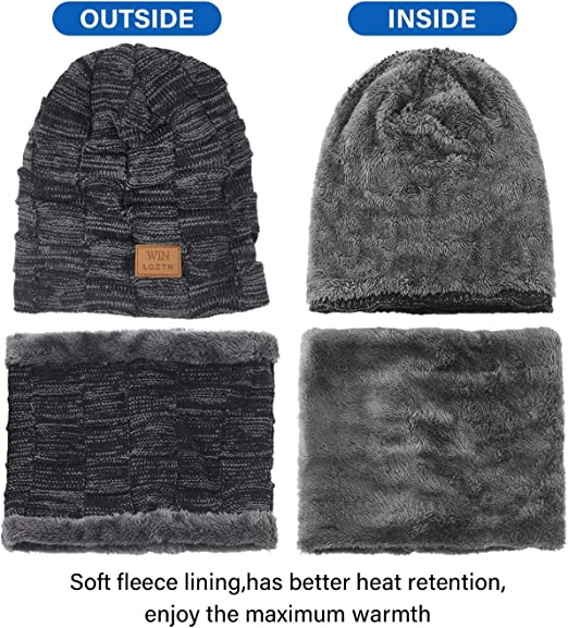 knitted by hand in sides soft and warm amber colors and teddy bear-quality wool Set hat and snood for men