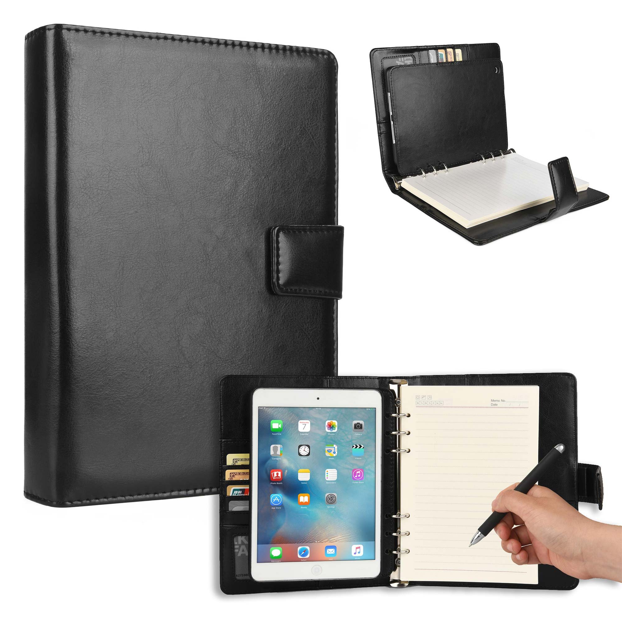 Cooper FOLDERTAB Padfolio Case Compatible with iPad Mini 3, iPad Mini 2, iPad Mini 1 | Business Executive Organizer with Notepad | Vegan Leather, Left Right Handed Binder, Notebook Refill (Black)