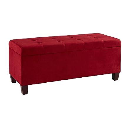 Pleasing Amazon Com Linon Yolanda Red Tufted Flip Top Ottoman With Andrewgaddart Wooden Chair Designs For Living Room Andrewgaddartcom