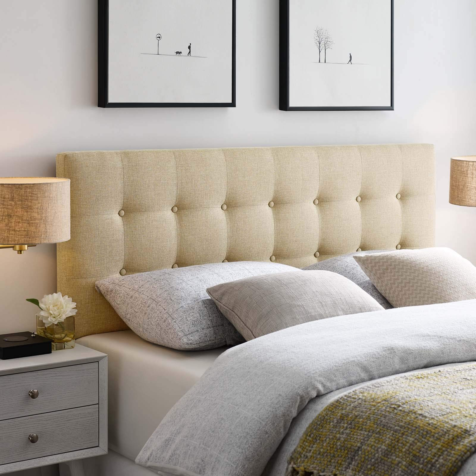 Modway Emily Tufted Button Linen Fabric Upholstered Queen Headboard in Beige by Modway