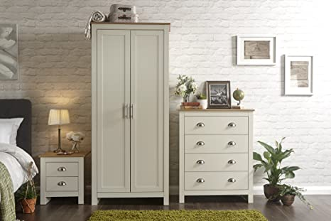 Home Source Country Cottage Pine MDF Bedroom Set - Wardrobe Chest of  Drawers Bedside - Cream