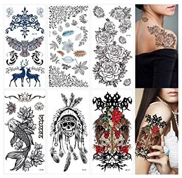 1a3a601031441 Amazon.com : Supperb Mix Nature Floral Spirit Temporary Tattoos/6-pack -  Twin Roses, Leaves, Skull, Koi Fish, Lotus, Owl, Reindeer Temporary Tattoos  : ...