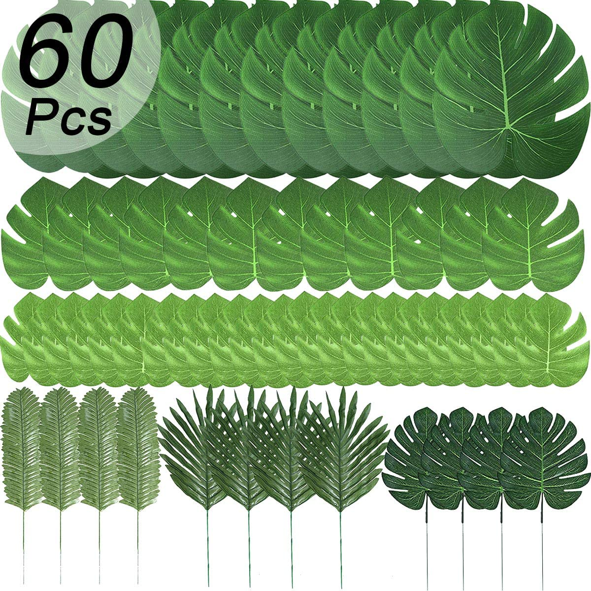 60 Pcs 6 Kinds Artificial Palm Leaves Tropical Plant Safari Leaves Faux Monstera Leaves Stems for Hawaiian Luau Party Decorations, Tiki Aloha Jungle Beach Theme Party Table Leave Decorations