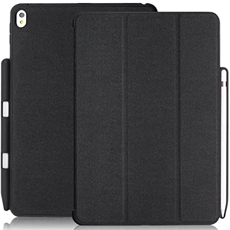 KHOMO iPad Pro 10.5 Inch Case with Pen Holder   DUAL Black Super Slim Cover with Rubberized back and Smart Feature  sleep / wake   For Apple iPad Pro