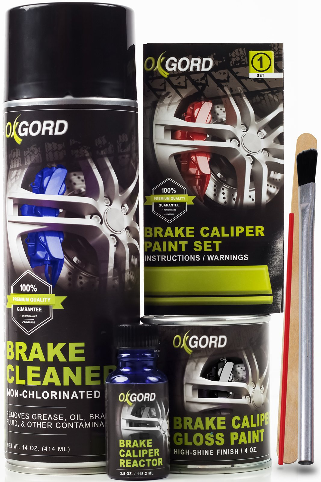OxGord Brake Caliper Paint Kit - High Heat 980-Degree F, Two-Part Gloss Paint with Cleaning Spray and Brush, Black Finish