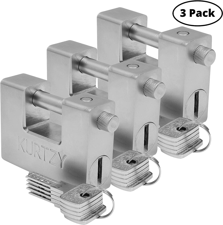 Candado Resistente 1kg con 5 Llaves (Pack de 3) - Candado Acero Endurecido Protector Equipo Industrial para Puerta de Garaje, Contenedores, Cobertizos, Casilleros y Almacén