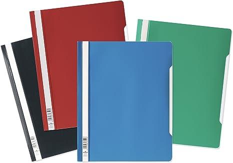 50 St/ück, orange 50 blaue Schnellhefter A4 Kunststoff Sichthefter Schul-Hefte