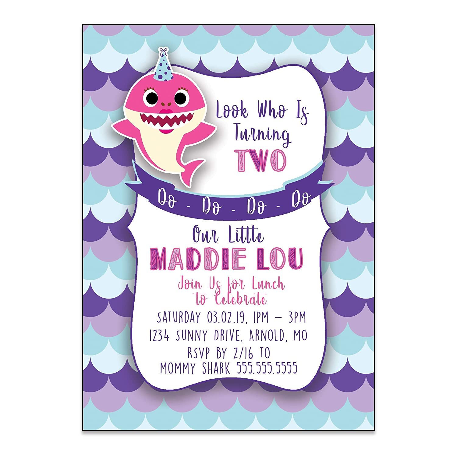 Baby Shark Inspired Birthday Party Invitation 5 Inches By 7 Inches Envelopes Included With Printed Option Printed Or Digital Diy Party Supplies
