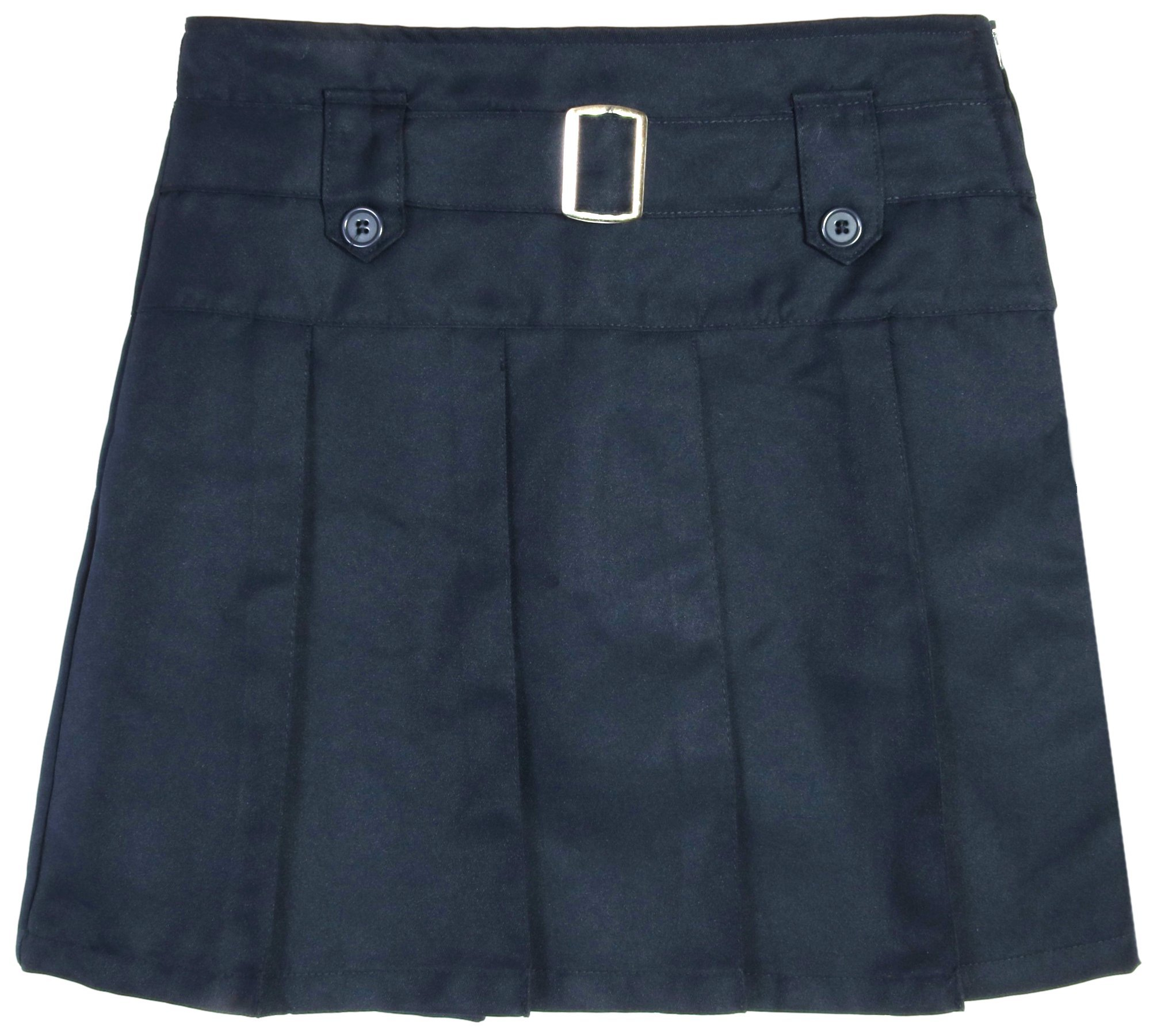 Beverly Hills Polo Club Girls School Uniform Belted Pleated Scooter (16, Navy with Buttons)'