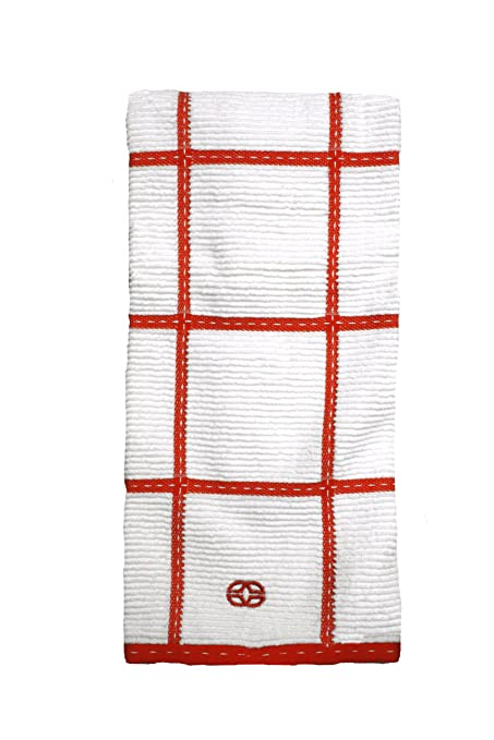 Calphalon Textiles Large Check Terry Kitchen Towel, Mandarin