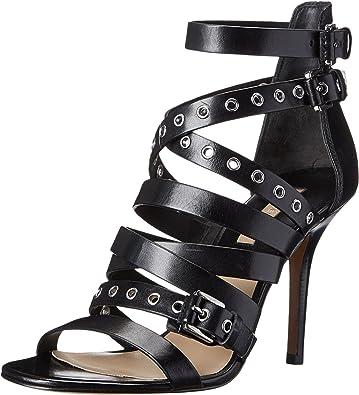Michael Kors Women's Cecilia Black Dull Silver Vachetta Sandal