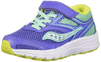 c35b04d6 Saucony Girls' Cohesion 12 A/C Sneaker, Periwinkle/Turquoise, 1.0 Wide US  Little Kid