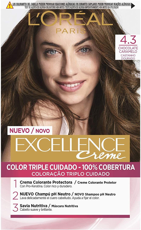 LOreal Excellence Creme 4.3 Chocolate Caramelo - 1 Coloración Permanente
