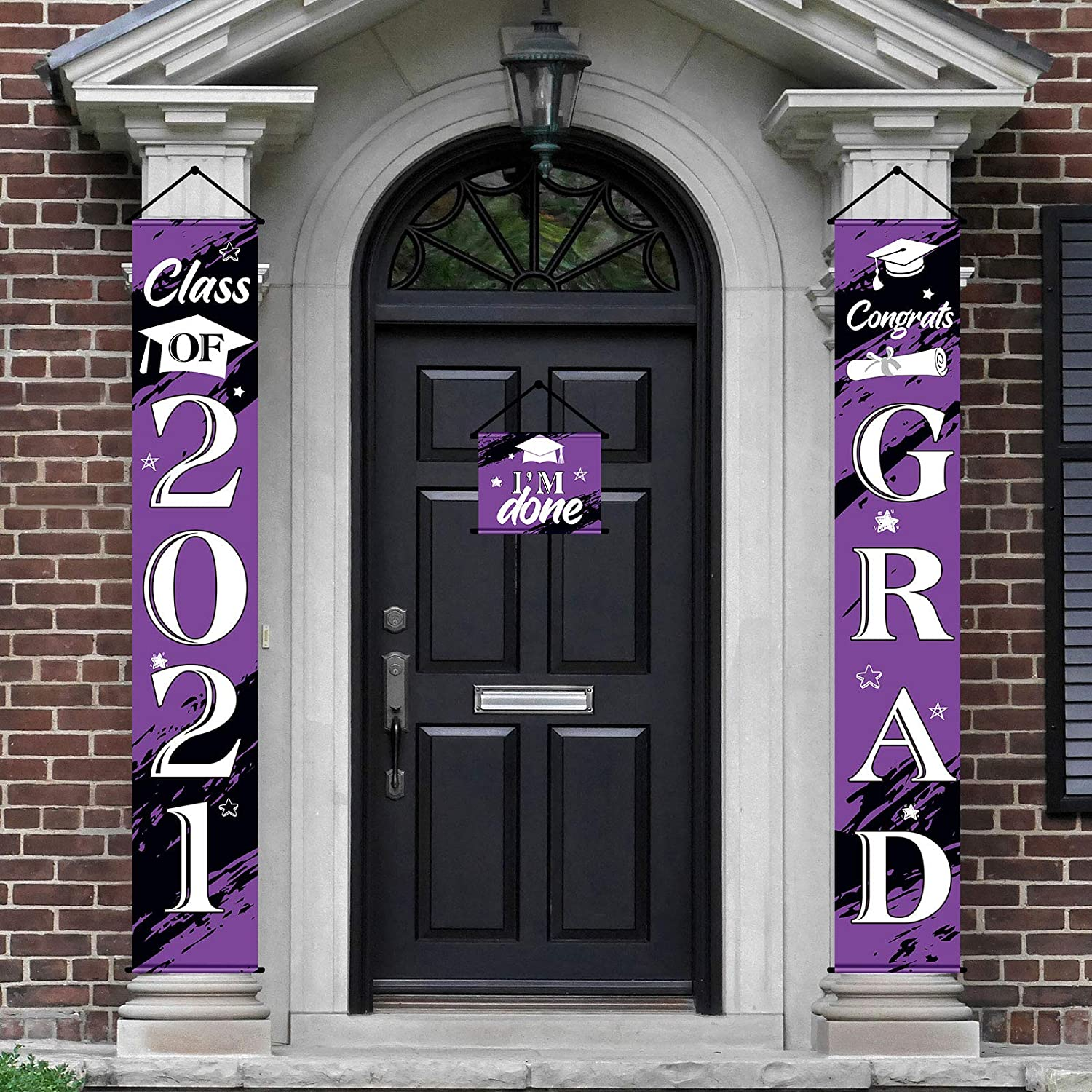 3 Pieces 2021 Graduation Banner Decorations, Class of 2021 Congrats Grad Porch Sign Hanging Banner Door Sign Welcome Decor Photo Props for College, High School Graduation Party Decorations (Purple)