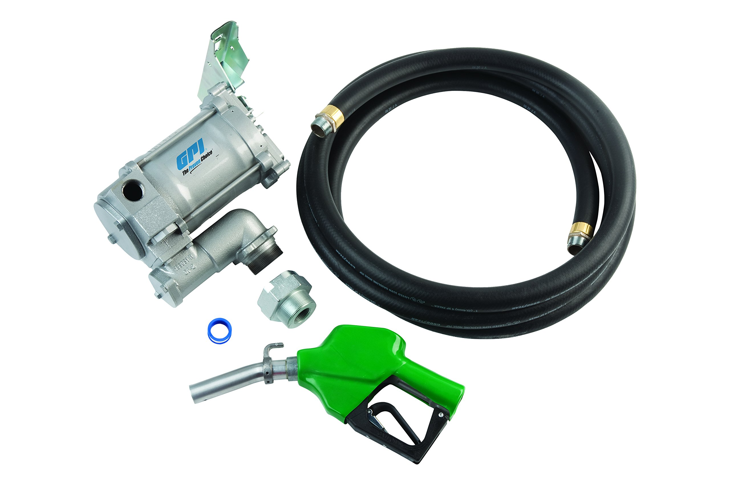 GPI 133200-33, M-3120-AD High Flow Cast Iron Fuel Transfer Pump, 20 GPM, 115-VAC, 1-Inch X 12-Foot Hose, Automatic Diesel Nozzle