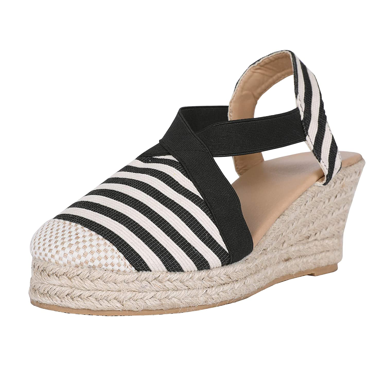 a7e1d1387f5 Liyuandian Womens Summer Wedge Sandals Ankle Buckle Strap Cap Toe  Espadrille Heel Platform Shoes