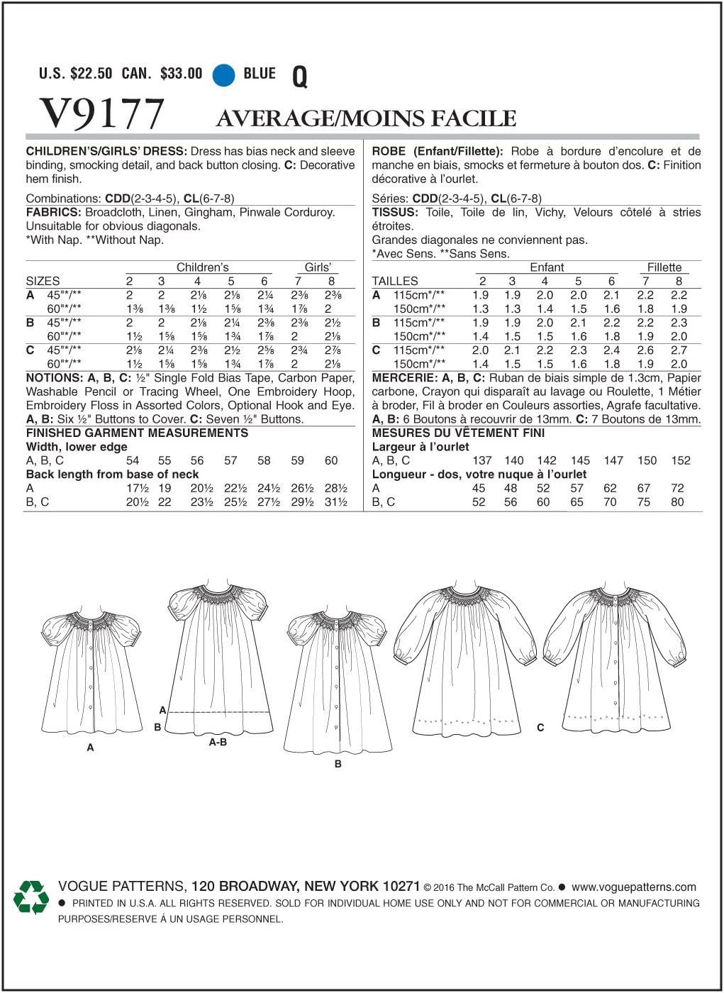 6-7-8 VOGUE PATTERNS 9177 CL,Childrens//Girls Dress,Sizes 6-8 Multi-Colour,