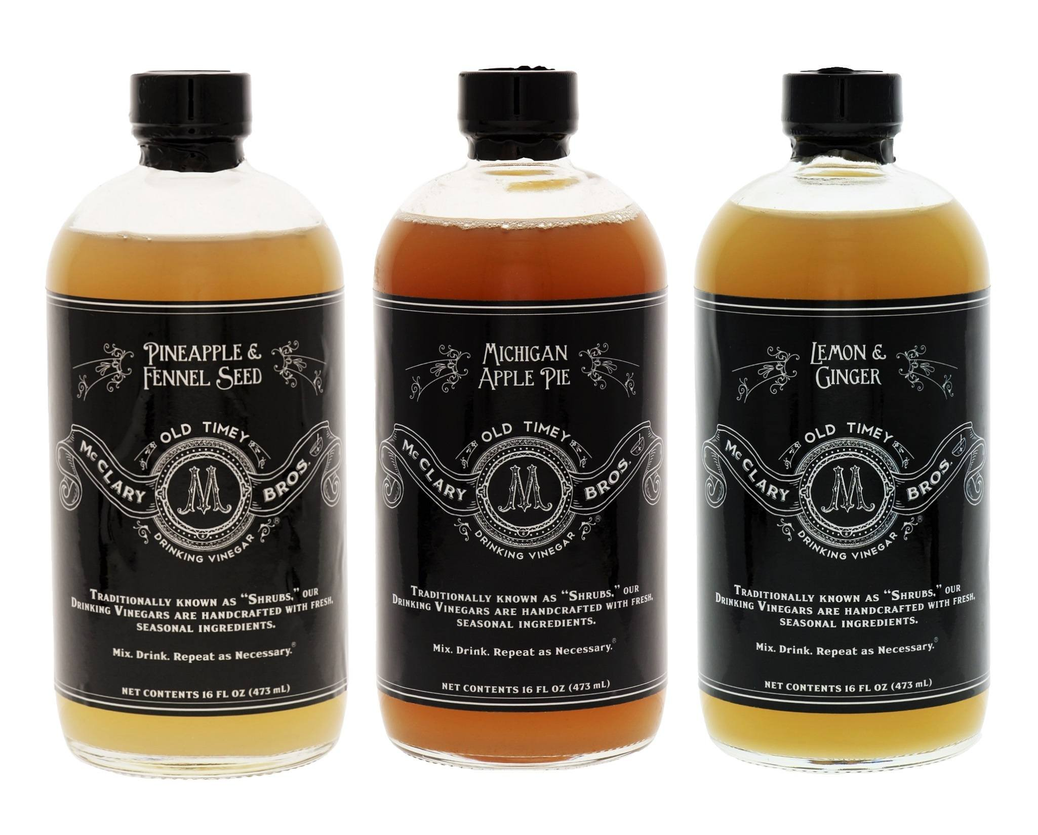 McClary Bros- Pineapple & Fennel Seed, Michigan Apple Pie, Lemon & Ginger Drinking Vinegars- 3 Bottle Craft Mixer Collection