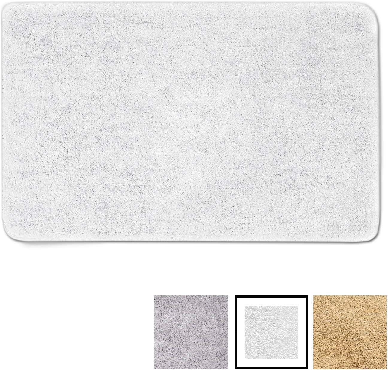 GadHome Alfombra de Baño, Blanca 50×80cm   Antideslizante y Muy Absorbente   Súper Suave, Esponjosa y Duradera   Multiuso Lavable a Máquina   Microfibra de Primera Calidad para Uso Interior