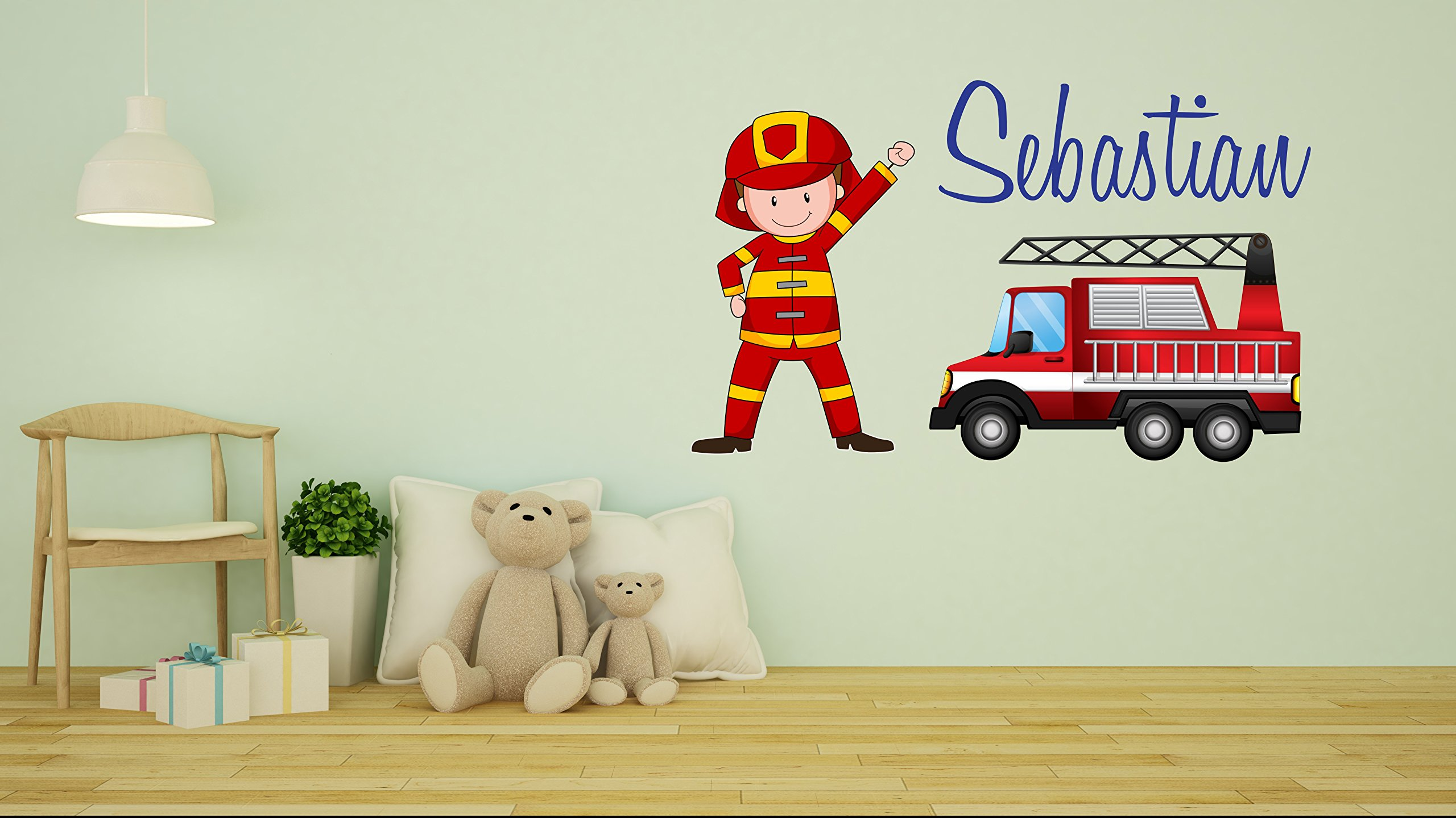 Custom name Firefighter wall decal - Personalized Nursery name -Wall Decal For Nursery Decoration playroom decoration (Wide 30''x19'' Height Inches)