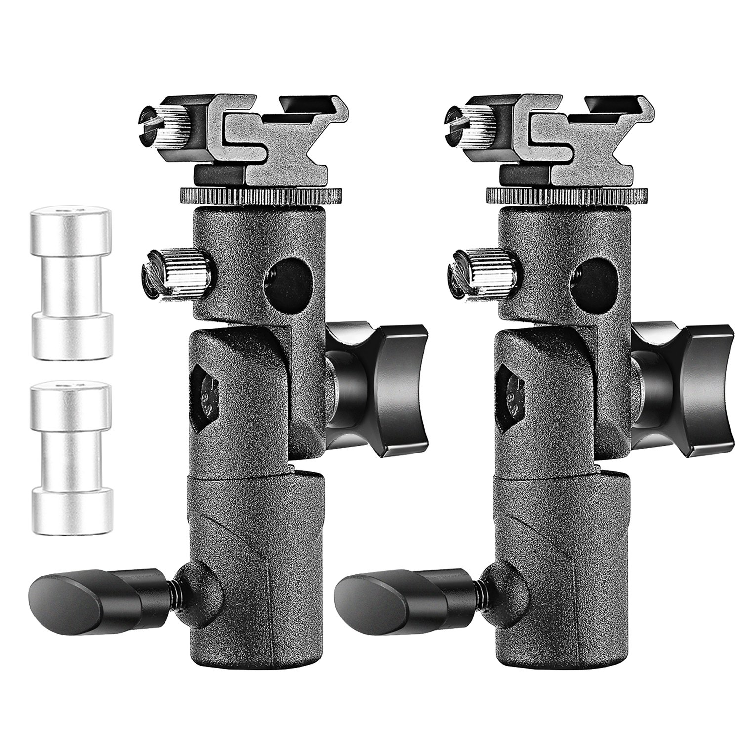 Neewer Professional Universal E Type Camera Flash Speedlite Mount Swivel Light Stand Bracket with Umbrella Holder for Canon Nikon Pentax Olympus and Other Flashes, Studio Light, LED Light(2 Pack) by Neewer