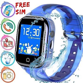 ONMET [SIM Incluida]smartwatch niños Reloj inteligente para niños, resistente al agua, reloj gps niños, SOS Calling, cámara de chat de voz, monitor ...