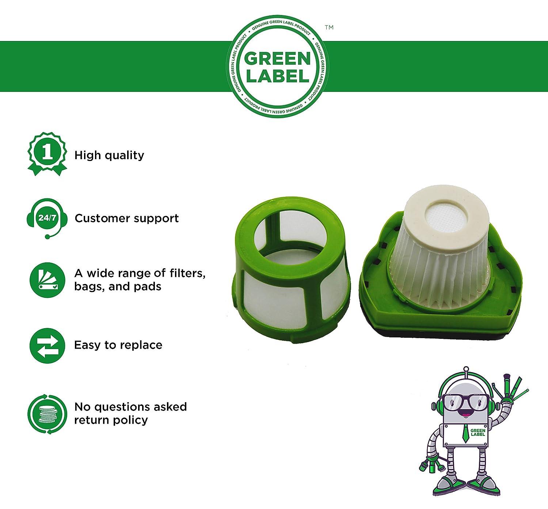 Reemplaza a 1608653 Green Label Filtro de Repuesto Lavable para Aspiradoras de Mano Inal/ámbricas Bissell 1782 Pet Hair Eraser