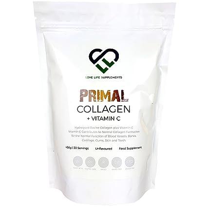 Primal Colágeno + Vitamina C de LLS | Colágeno bovino hidrolizado más vitamina C para la