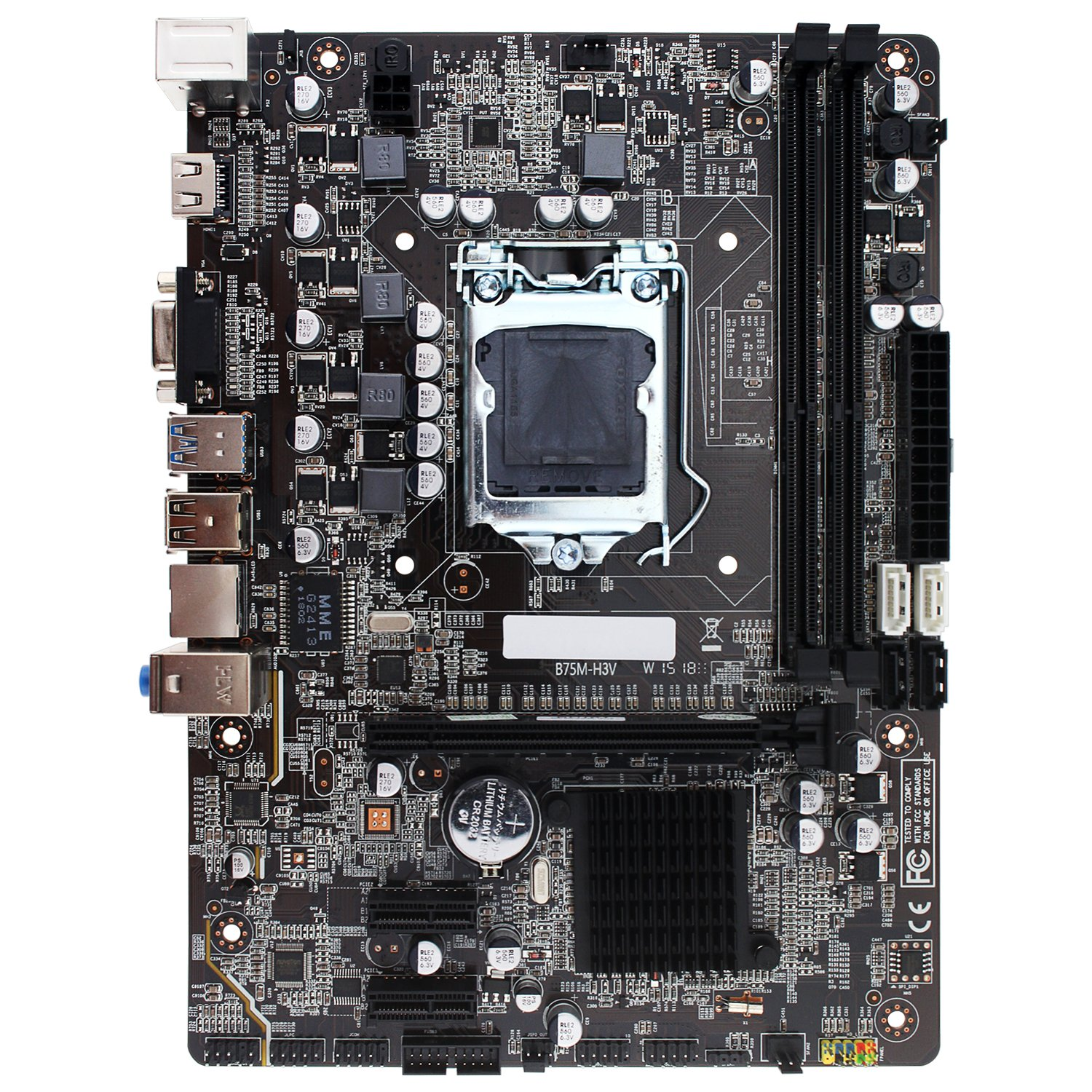 Intel B75 Motherboard Socket LGA1155 Providing 2 x Dual Dimm DDR3(1333) Slots Total Support 16GB RAM, Support Core i3/i5/i7 Gen2 Gen3 Processors DDR3(1333/1600), SATA3.0/USB3.0/VGA/HDMI - Micro ATX by Sofobod