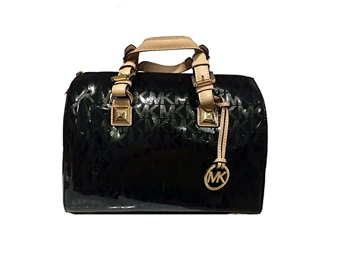 41396ca68eebe4 MICHAEL Michael Kors Womens Grayson Mirror Metallic Satchel Handbag Black  Medium