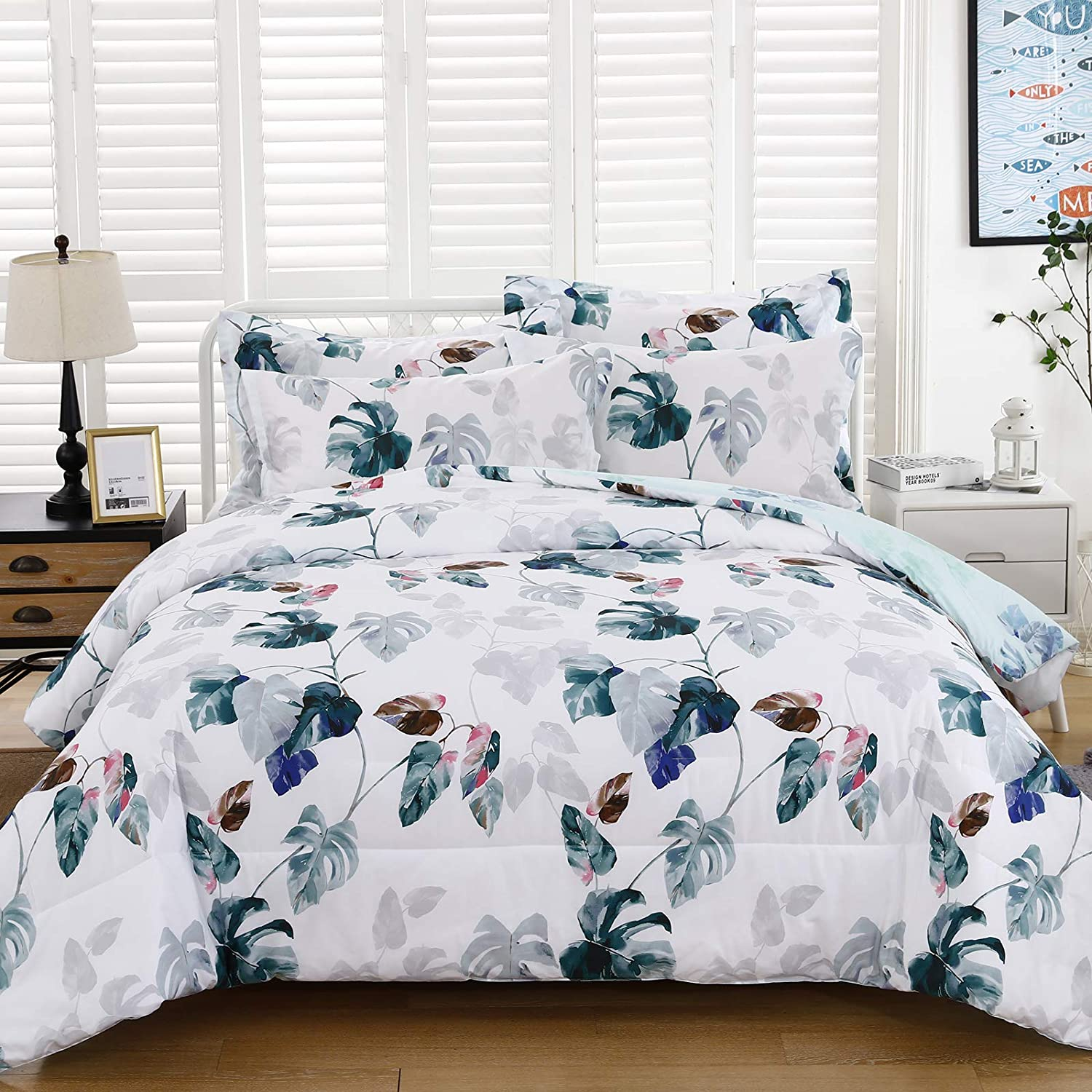 Floral Cotton Comforter Queen, 100% Cotton Reversible Green Botanical Plant Leaves Printed White Solid Comforter with 2 Pillowcases for All Season, 3 Piece Bedding Inner Filling Duvet Set Queen Size