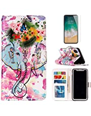 For iphone X Wallet Case and Screen Protector,OYIME Luxury Relief Pattern Design Bookstyle Leather Holster Kickstand Card Slots Function Full Body Protection Bumper Magnetic Closure Flip Cover with Wrist Lanyard - Elephant