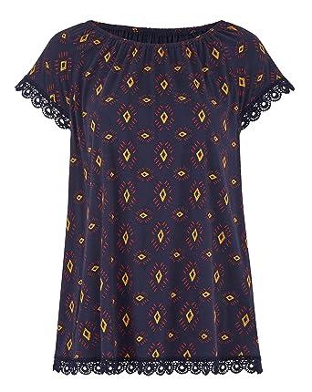 Womens Print Crochet Trim Gypsy Jersey Top Simply Be