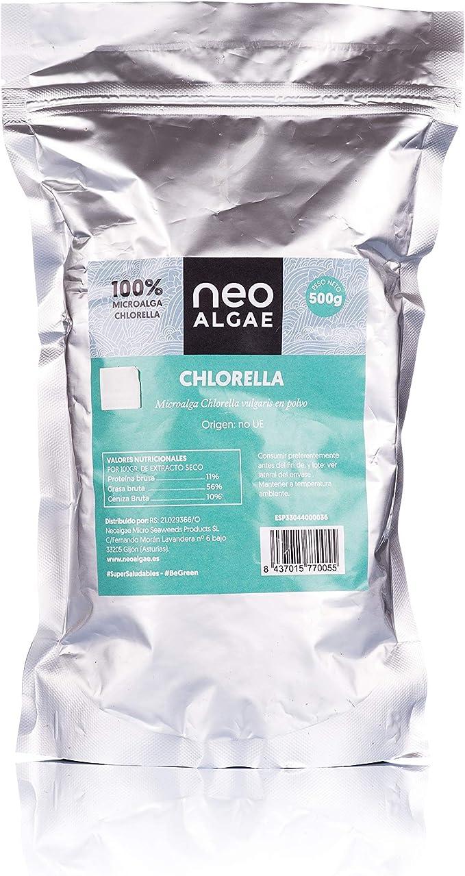 Chlorella Ecológica en Polvo ecológica   100% Chlorella Orgánica   Poder Antioxidante   500 gramos por Envase   Neoalgae