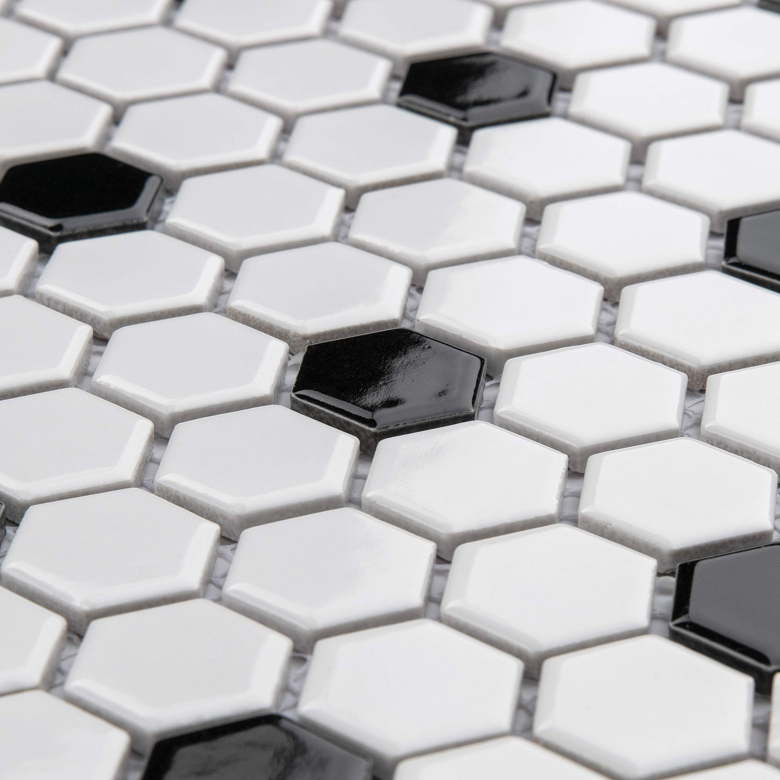 SomerTile FXLMHWBD Retro Hexagon Porcelain Mosaic Floor and Wall Tile, 10.25'' x 11.75'', White with Black Dot by SOMERTILE (Image #6)